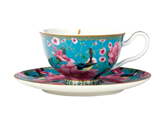 Maxwell & Williams Teas & C's Silk Road Footed Cup & Saucer - Aqua