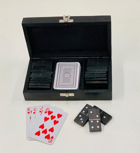 Tower Black & Silver Domino and Card Set