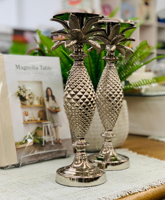 Silver Palm Candlestick Holder