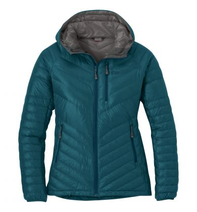 Outdoor Research Illuminate Womens Hooded Down Jacket - Washed Peacock