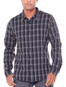 Icebreaker Compass Mens Long Sleeve Flannel Shirt - Black/Monsoon/Plaid