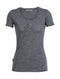 Icebreaker Tech Lite Short Sleeve Scoop Snap Head Womens T-Shirt - Gritstone Heather