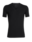 Icebreaker Anatomica Short Sleeve Mens V Neck Top - Black/Monsoon