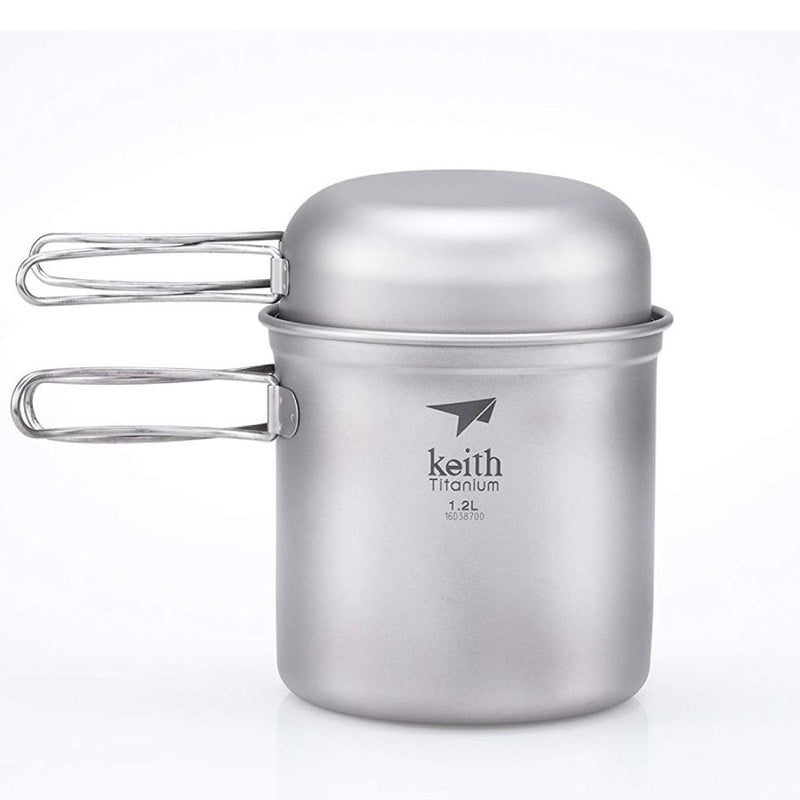 Keith 2 Piece Titanium Pot and Pan Cook Set - 138x90mm