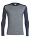 Icebreaker Oasis Long Sleeve Crewe Mens Top - Gritstone/Stealth