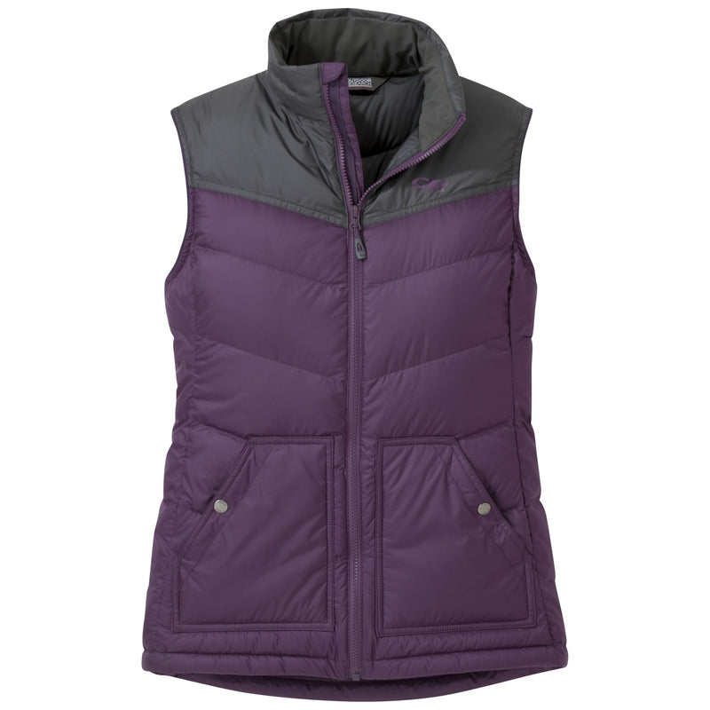 Outdoor Research Transcendent Womens Down Vest - Plum/Storm