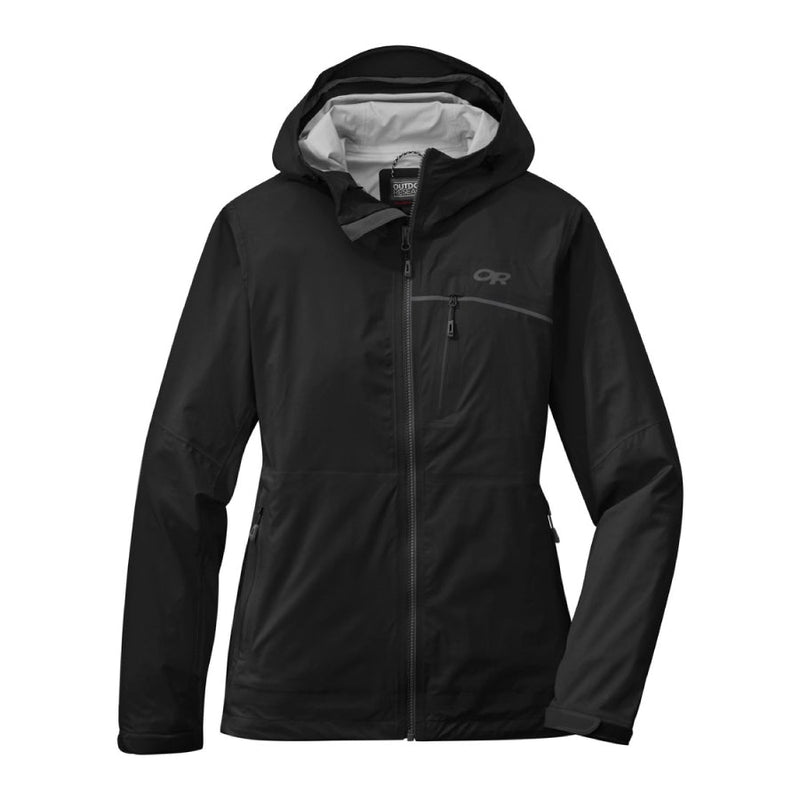 Outdoor Research Interstellar Womens Waterproof Hooded Jacket - Black/Charcoal