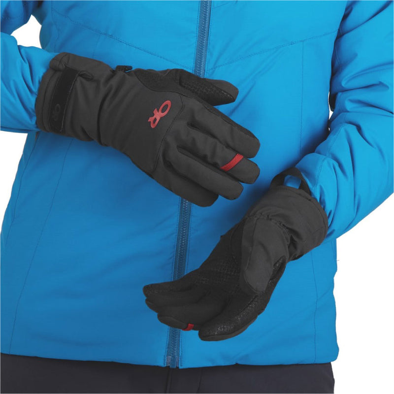 Outdoor Research Ouray Womens Ice Gloves - Black/Tomato