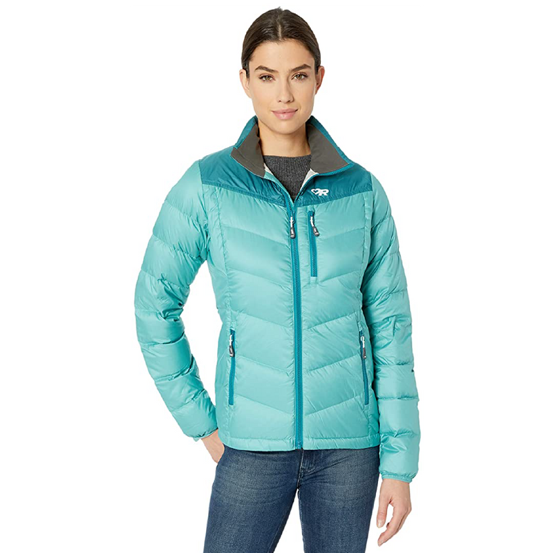 Outdoor Research Transcendent Womens Down Jacket - Seaglass/WashedPeacock
