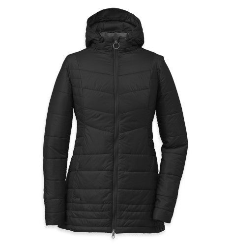 Outdoor Research Breva Womens Hooded Parka Jacket - Black/Pewter