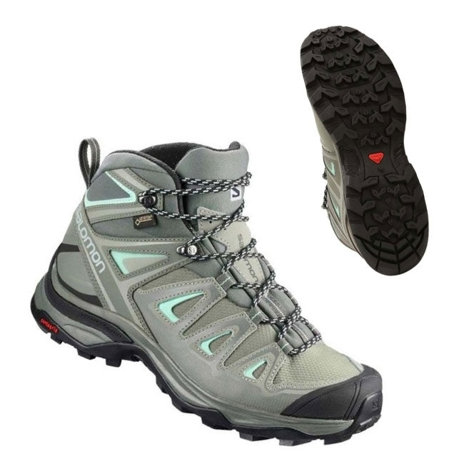 Salomon X Ultra 3 Mid GTX Womens Hiking Boot - Shadow/Castro Gray/Beach Glass
