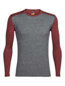 Icebreaker Oasis Long Sleeve Crewe Mens Top - Gritstone Heather/Vintage Red