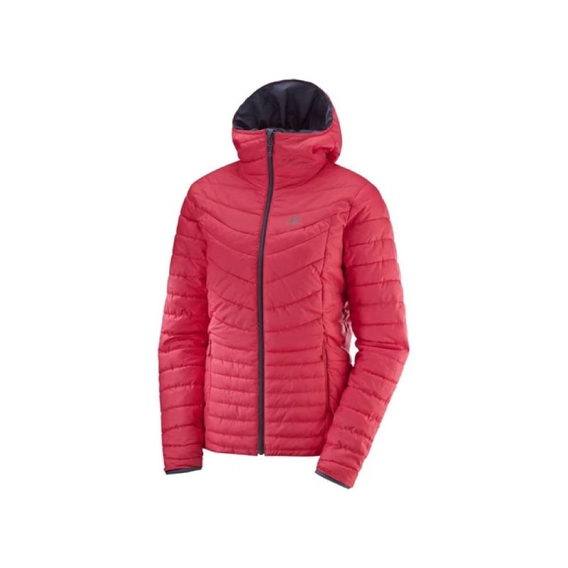 Salomon Drifter Loft Womens Insulated Hooded Jacket - Graphite/Hibiscus