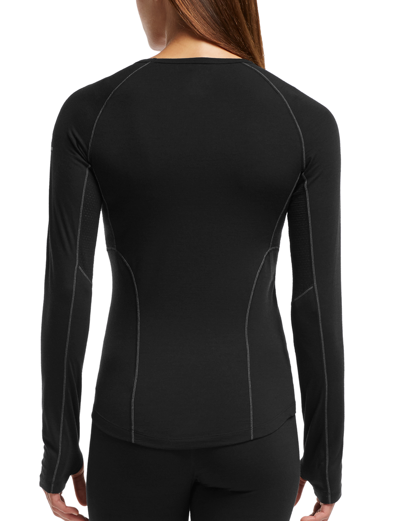 Icebreaker Zone Long Sleeve Crewe Womens T-Shirt - Black/Mineral