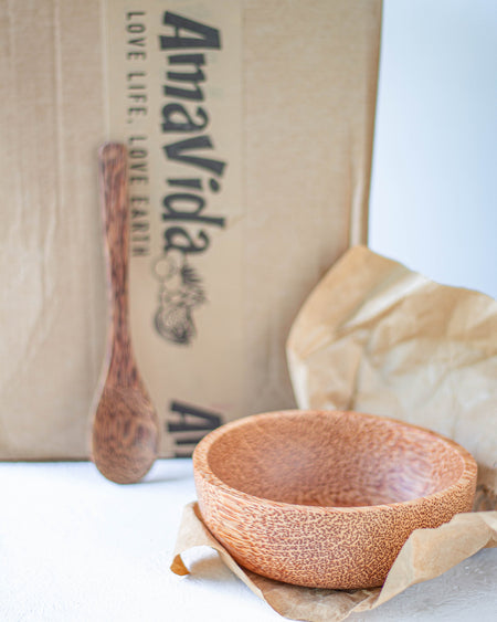 Coconut Wooden Bowl & Spoon