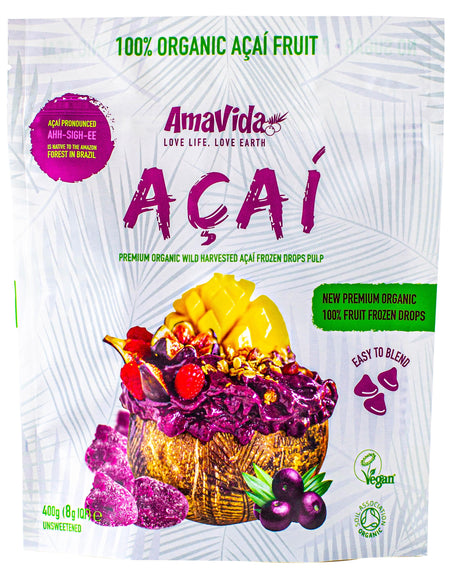 Organic Premium Grade Açaí Smoothie Packs 400g in 8g Drops.