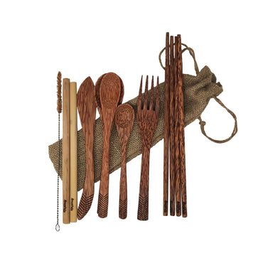 Hand Carved Wooden Utensil Travel Set