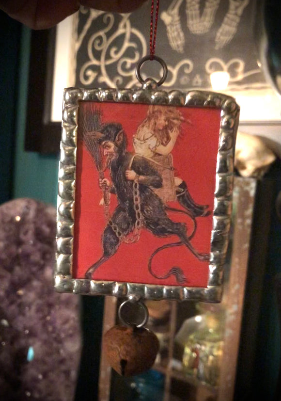 Handcrafted Victorian Holiday Ornament - Kidnapper Krampus - With Bell Charm