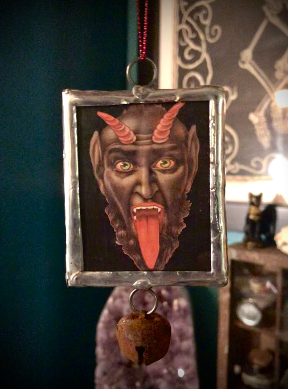 Handcrafted Victorian Holiday Ornament - Gruss vom Krampus - With Bell Charm