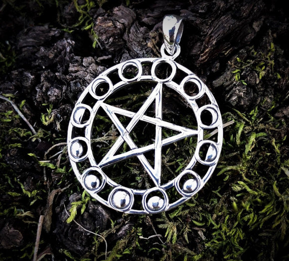 Moon Magic Pentagram Pendant - Sterling Silver - Moon Phases