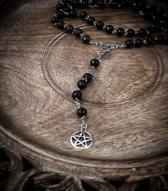 Thorn & Moon Witches' Rosary - Wooden Beads - Pentagram - Triquetra