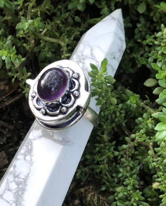 Sterling Silver Poison Ring with Amethyst- Silver and Natural Gemstone - Size 9