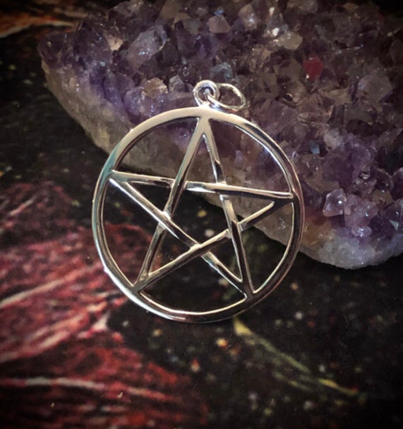 The Witches' Pentagram Pendant - Large - Sterling Silver - Pagan - Witchcraft