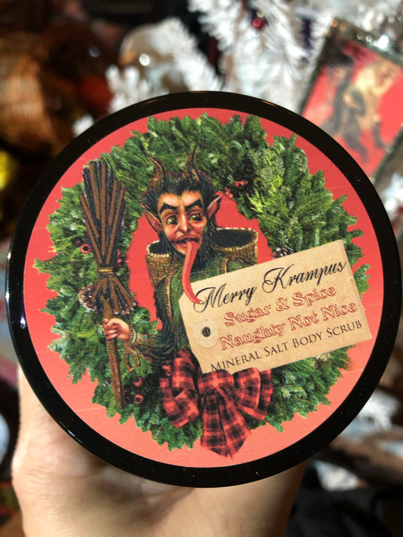 Holiday Body Scrub - Merry Krampus - Dead Sea Salt - Shea Butter -  Clove - Orange - Cinnamon - Spice