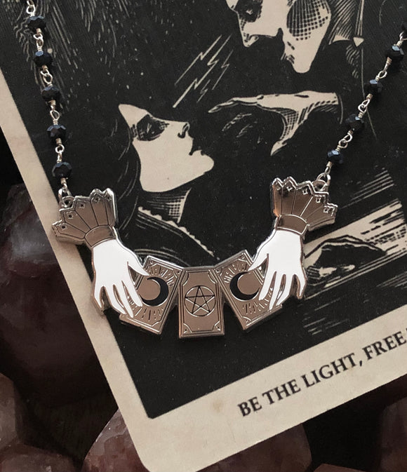The Haunted Tarot Necklace - Victorian Hands - Tarot Cards - Rosary Beaded Chain