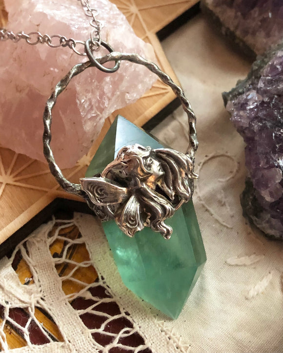 The Green Faerie Crystal Pendant - Fluorite Point - Silver - Dragonfly Clasp