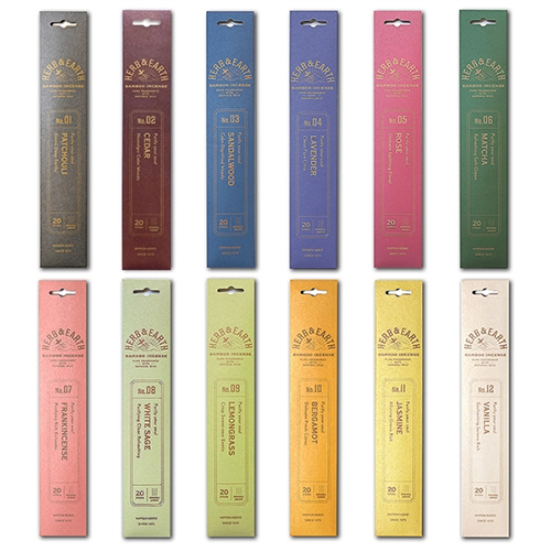 12 x Herb & Earth Bamboo incense