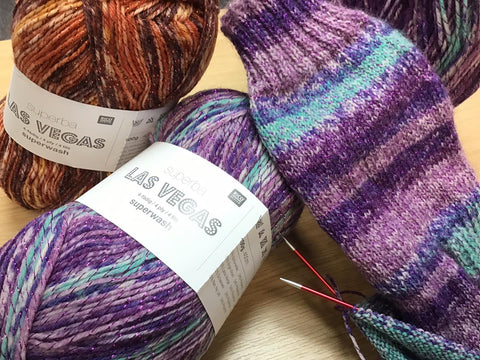 Rico Las Vegas yarn knitted in to socks
