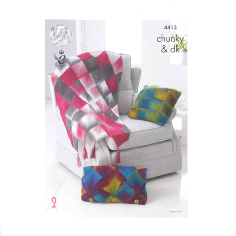 King Cole Chunky Pattern 4413 Throw & Cushions