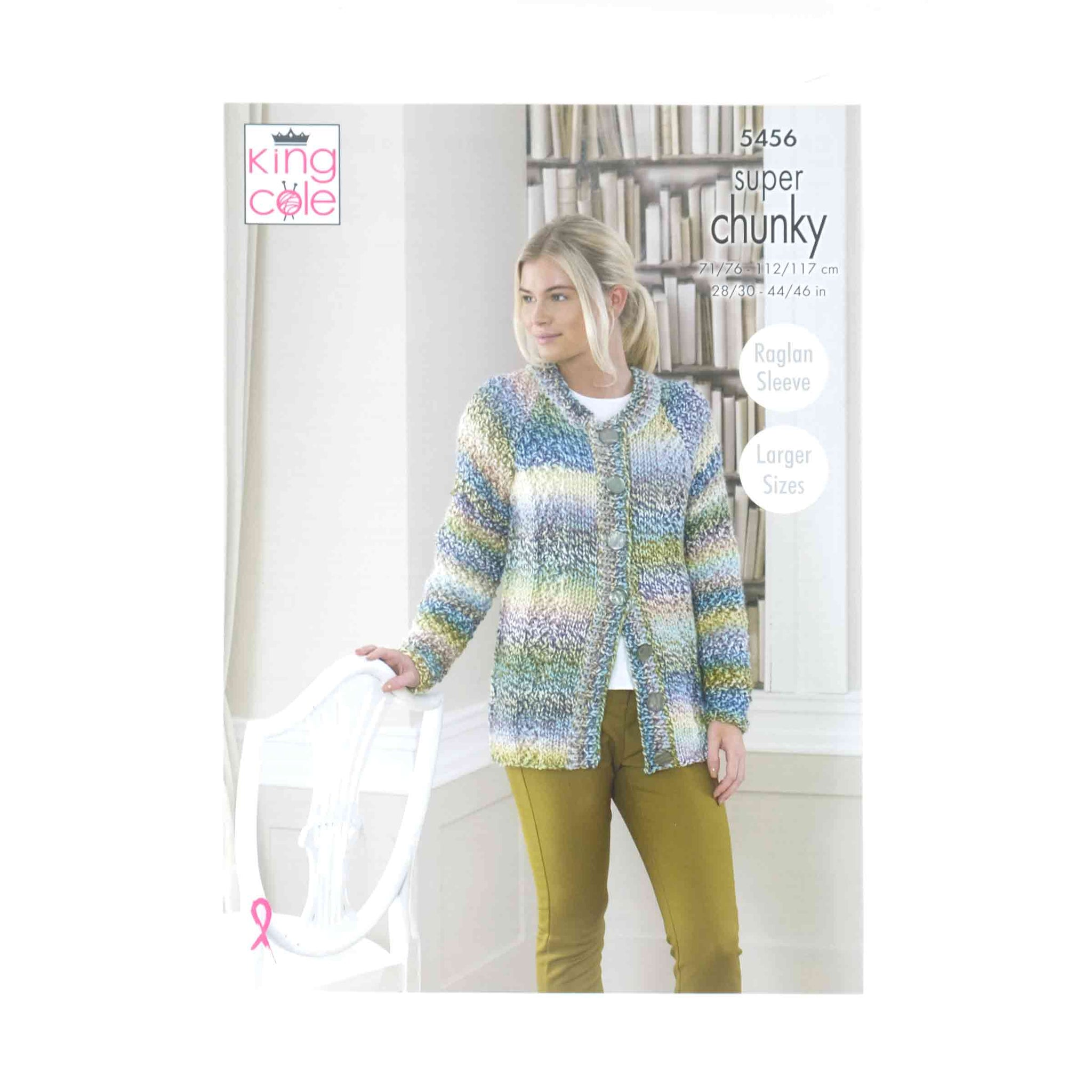 King Cole Chunky Pattern 5456 Cardigan, Scarf & Wrist Warmers