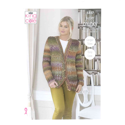King Cole Chunky Pattern 5457 Cardigan, Hat & Cowl
