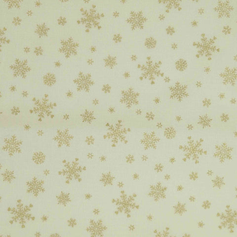 Lecien Fabrics Under The Christmas Tree 31916 Snowflakes Gold on Natural