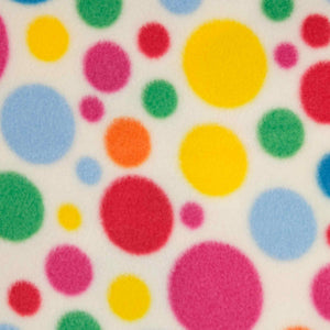 Oddies - Antipil Polar Fleece Printed - FC7139 Rainbow Coloured Spots Ivory
