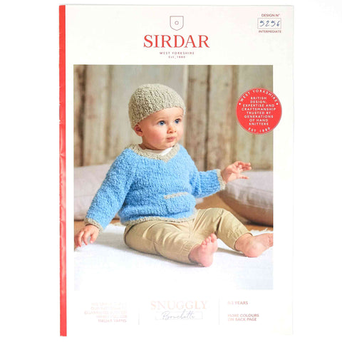 Sirdar Snuggly Bouclette Pattern 5256 Baby's V Neck Sweater & Hat