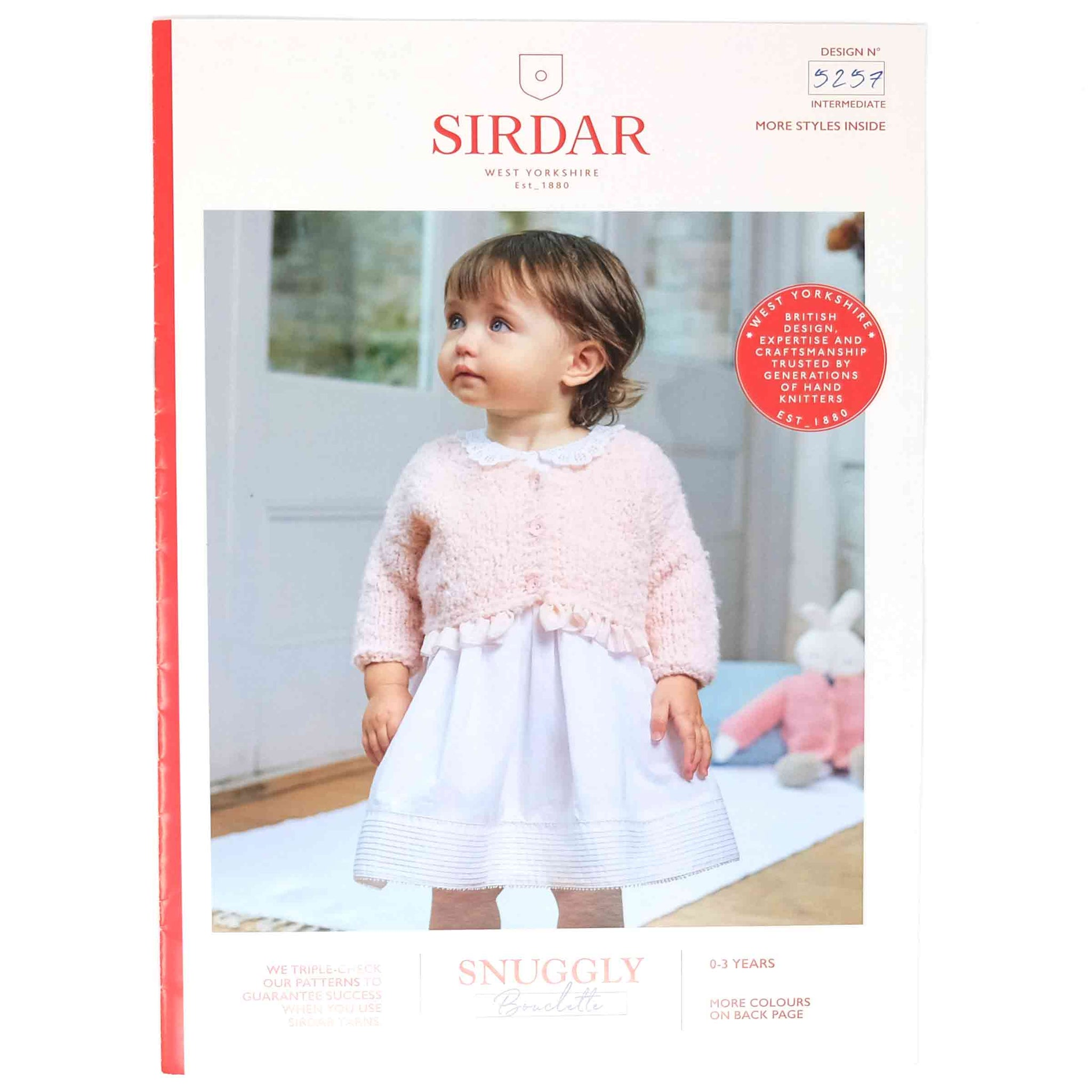 Sirdar Snuggly Bouclette Pattern 5257 Girl's V Neck Cardigan & Doll's Cardigan