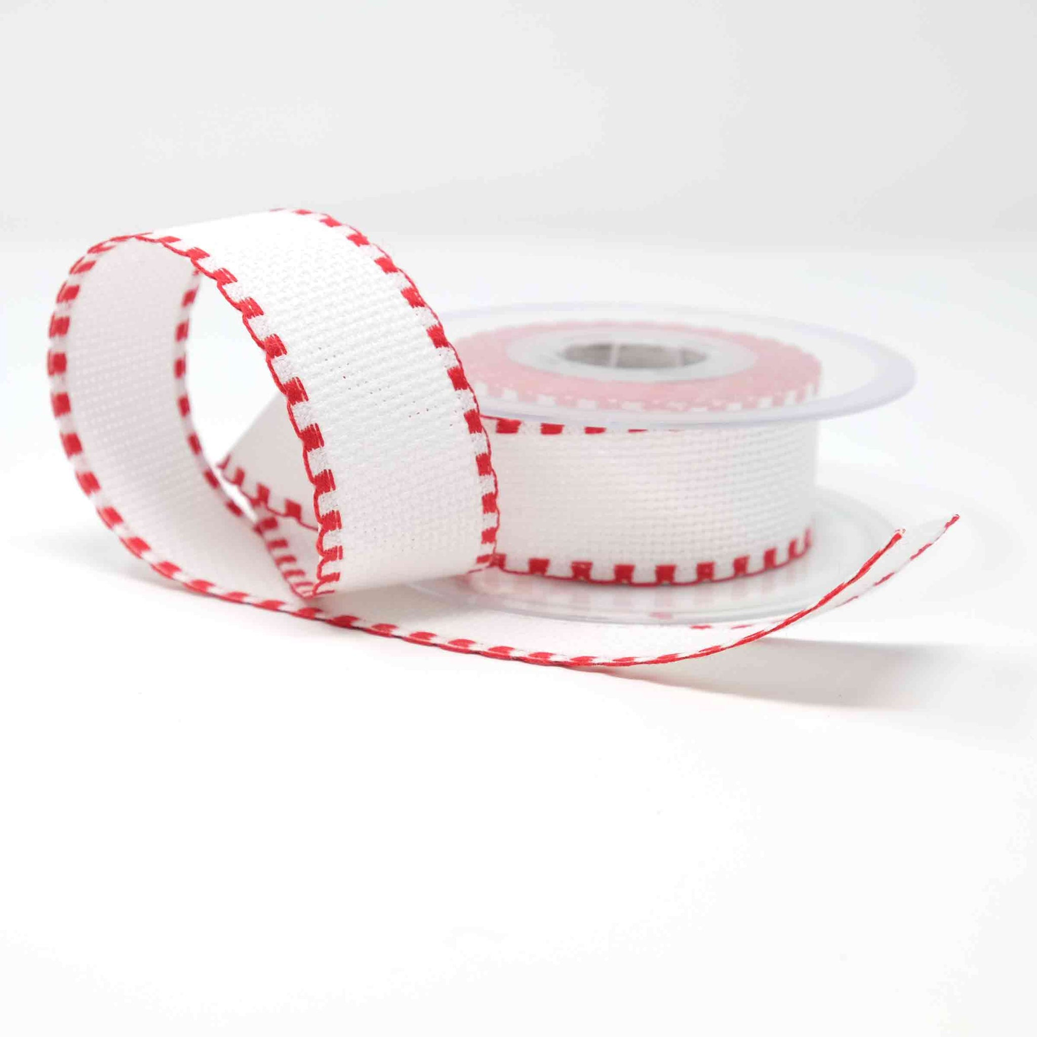 Stitch Garden Aida Band 14 count 30mm (46) White & Red