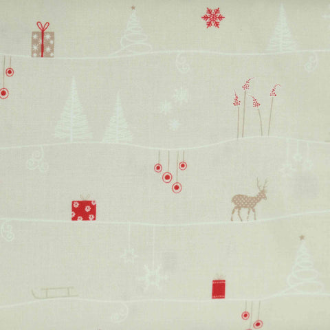 Stof Fabrics Silent Christmas MS 16-94 Scandi Scene Red and White on Natural