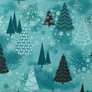 Stoff Fabrics It's Snowflake 4597 005 Turquoise with Metallic Trees