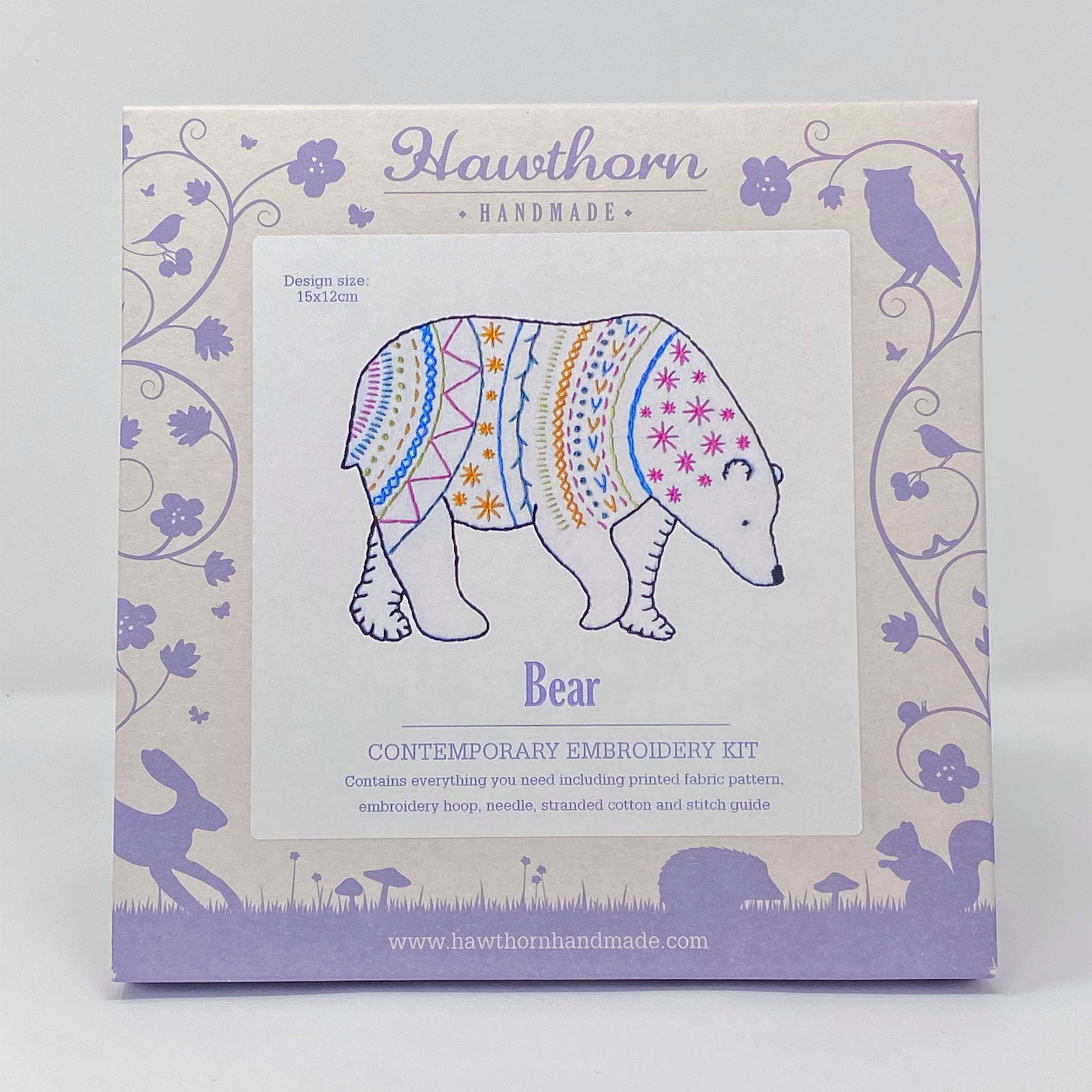 Hawthorn contemporary embroidery kit bear