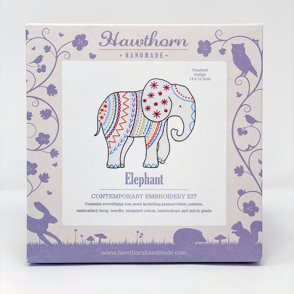 Hawthorn contemporary embroidery kit elephant