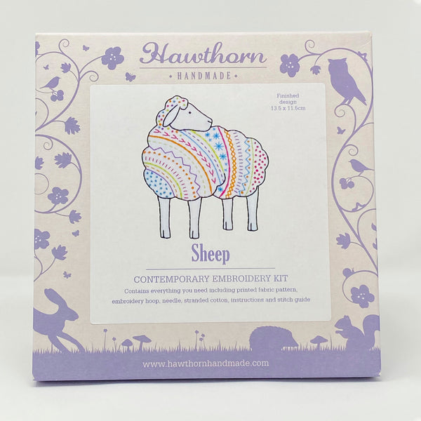 Hawthorn contemporary embroidery kit sheep