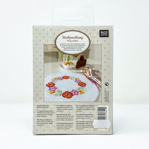 cross stitch doily floral wreath