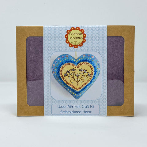 Wool Mix Felt Craft Kit Embroidered Heart