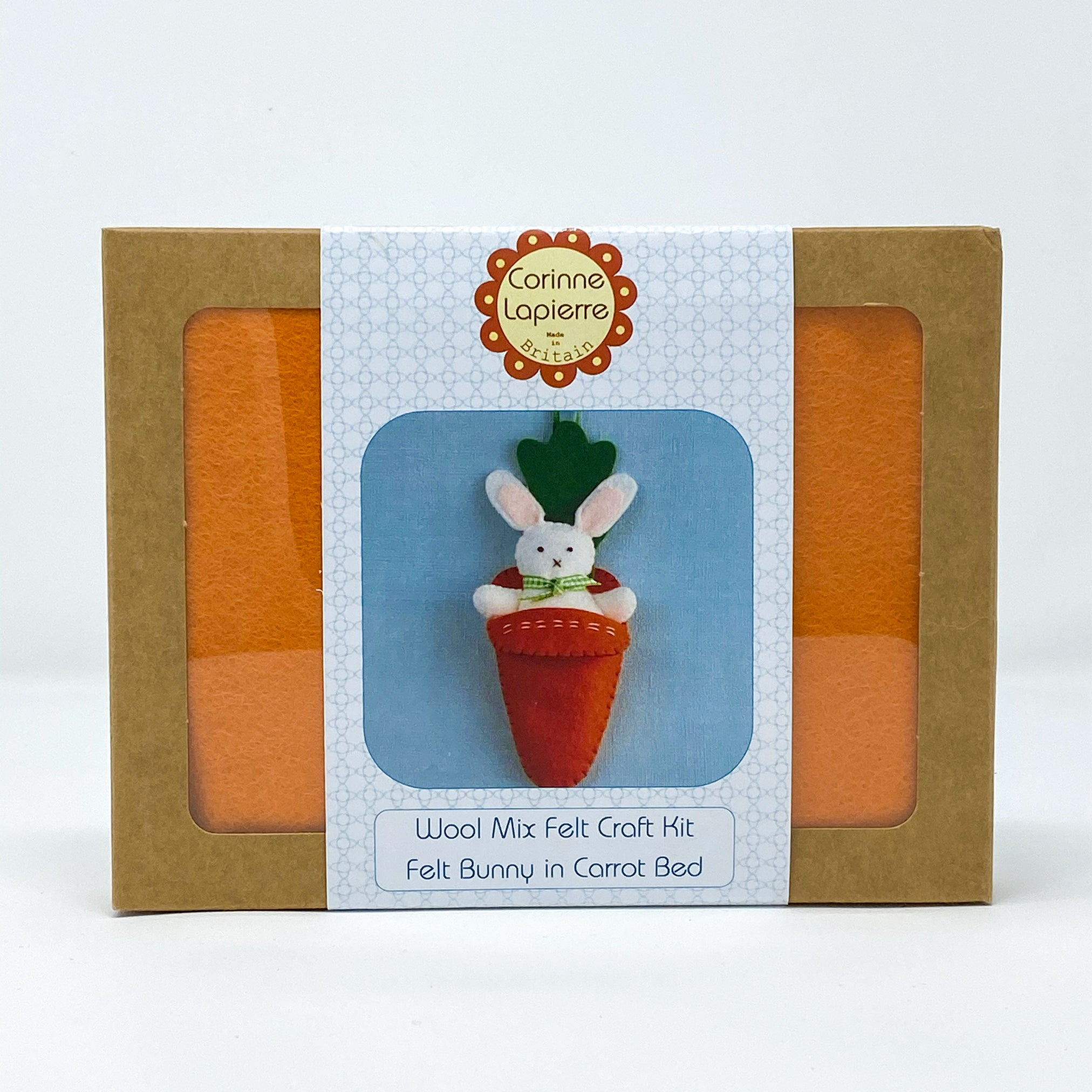 Wool Mix Felt Craft Kit Felt Bunny in Carrot Bed