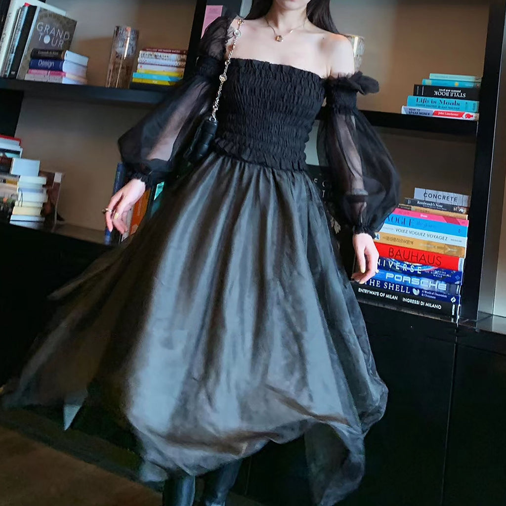 Ruffle Sheer Sleeve Top & Gauzy Skirt - Black-MARVOUS WEAR