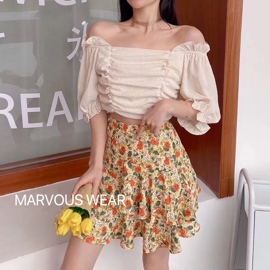Off-Shoulder Stretch Top-MARVOUS WEAR